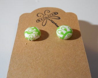 Green and White Button Earrings