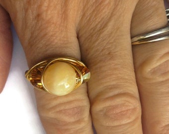 Gemstone Ring, Swarovski Ring, Wire Wrapped Ring, Gold Ring, Yellow Calcite Ring