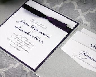 Pocket Wedding Invitations - Pocket Fold Wedding Invitations - Classic Wedding Invitation Suite - Elegant Pocket Wedding Invitations