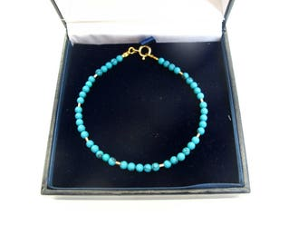 14 K yellow solid gold tube beads  natural turquoise beads bracelet