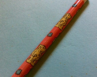 Kawaii Teddy Bears Pencil. Baby Pink Wooden Pencil. Vintage Pencils. Cute Bear Print. 1994 Writing Supplies. Back to School.