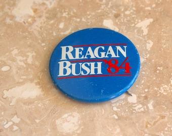 Reagan Bush pinback button, election pin, 1984 election, Ronald Reagan, George Bush presidential pin, red white and blue, campaign button