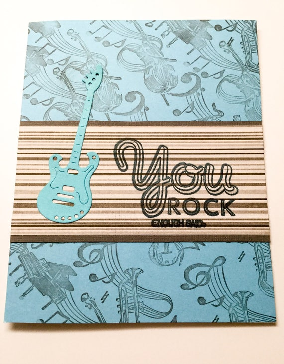 Handmade birthday cards guitar musical notes black notes like this item bookmarktalkfo Image collections
