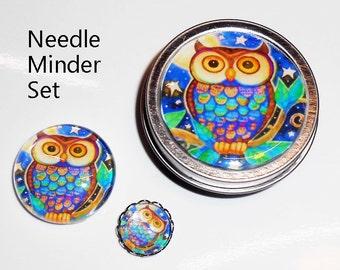 Needle Minder Gift Set - Glass Magnets - Needle Minder - Needle Nanny - Magnet Set Tin - Cross Stitch Gifts - Needlework