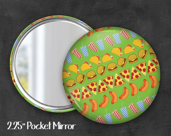 "2.25"" Junk Food Pocket Mirror, Geek Pocket Mirror, Geekery, Mirror Button, Kawaii Mirror, Pocket Mirror, Kawaii, Fairy Kei, Pastel Goth"