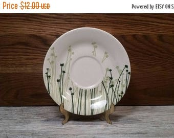 SALE - Set of 4 - Green and White Clover Print Saucers