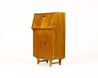 Danish Modern / Mid Century Compact Bar / Cocktail cabinet — Geared Front Panel — Carved inset Pulls