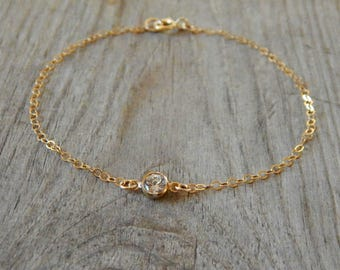 Tiny diamond bracelet, Dainty bracelet, Cz Bracelet, Bridesmaids bracelet, Maid of honor gift, Gift for her