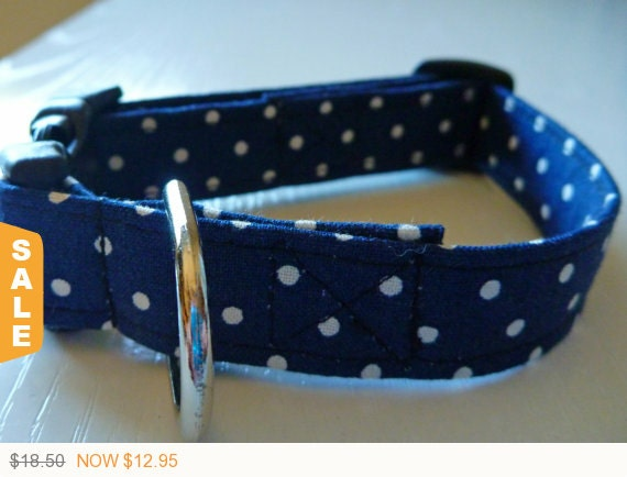 """Sale - 30% Off Navy and White Polka Dot Dog Collar -""""Travis""""-Free Colored Buckles"""