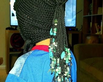 Crochet and Hand-Beaded Dreadlocks Hat for Child or Woman Handmade OOAK Black Cotton Blend