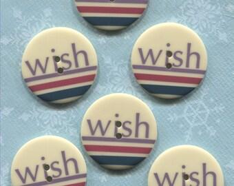 Set of 6 Large Cream Wish Plastic Buttons-Item#292