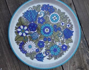 Blue White Flowers Green Leaves Flower Power Metal Tray 60s Psychedelia Flower Power Mid Century Enamelled Metal Tray Mod Vintage