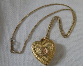 Gold Filled Etched Embossed Floral Heart Locket Necklace - 18 inch