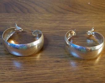 Vintage Hoop Earrings  Silver tone  Pierced Earrings