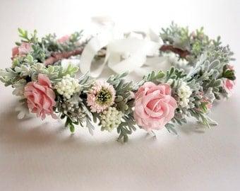 Flower Crown, Pink Flower Crown, Spring Wedding, Bridal Crown, Maternity Photo Shoot, Pink Wedding, Head Wreath, Boho Wedding, PINK SORBET