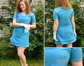 60s/70s Handmade Blue Dress ( size 4/6)