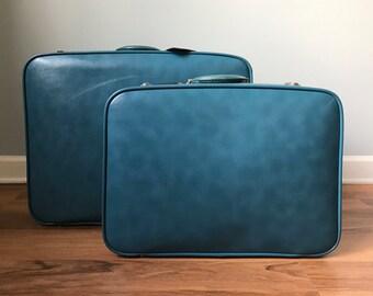Vintage Baby Blue Suitcase Set