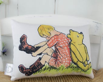 Winnie the Pooh and Christopher Robin Cotton Mini Pillow. Classic Pooh bear for gift or nursery decor