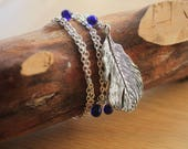 Long Plume Necklace with Blue Drop Beads