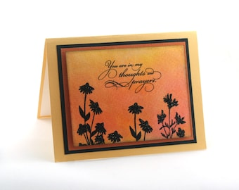 sympathy card, thoughts and prayers blank card, sunset garden
