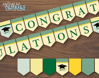 Printable Graduation Banner, Green and Gold Chevron Congratulations Banner, INSTANT DOWNLOAD digital file