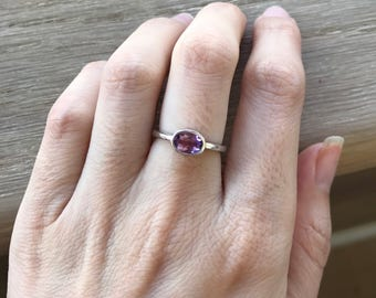 Small Amethyst Stackable Ring- Oval Purple Stone Ring- February Birthstone Ring- Simple Amethyst Ring-Purple Stone Ring-Sterling Silver Ring