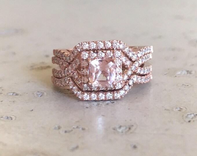 Deco Morganite Engagement Ring Set- Morganite Engagement Ring Rose Gold- 14k Engagement Morganite Edwardian Bridal Set Wedding Ring
