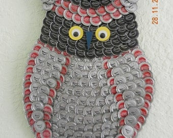 Hand Crafted Owl from Bottle Caps