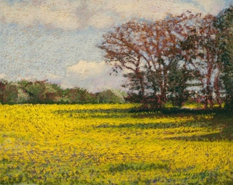Fine Art Giclee Print, Landscape, French Countryside, Canola Field, April in France, Archival Print, Avril, Yellow Flowers, 8x10