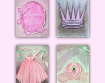 Girl Nursery Decor, Princess Wall Art, Custom Name, Princess room decor, SET 4, Princess dress, Cinderella Carriage, Princess crown wall art