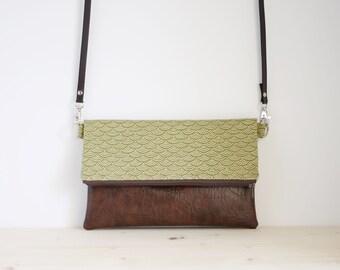 Japanese bag, seigaiha handbag, japanese crossbody bag, green foldover bag, japanese shoulder bag, green clutch - Green Seigaiha