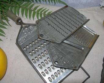Vintage Grater Collection Set 3 Lightning Metal Shredders Pat Pend
