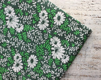 Vintage fabric 3.55 yards in 1 listing olive green white floral boho bohemian