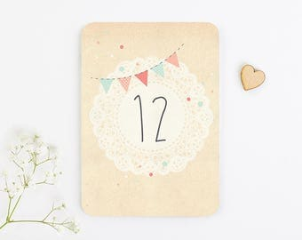 Bunting and Lace Wedding Table Number
