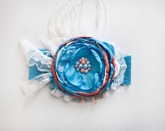 Ready to Ship- Turquoise & Orange Satin Flower Headband- girl, child, toddler, pearls, lace, feathers, bow, flower girl, wedding, white