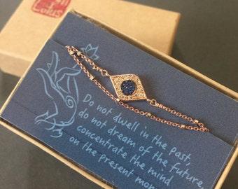 Evil Eye bracelet, Protection Bracelet, layered bracelet, Rose gold satellite chain, Evil Eye Jewelry, celebrity inspired jewelry