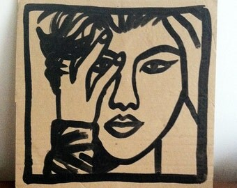 Dessin original, original artwork, portrait of sexy girl fille sur carton/cardboard