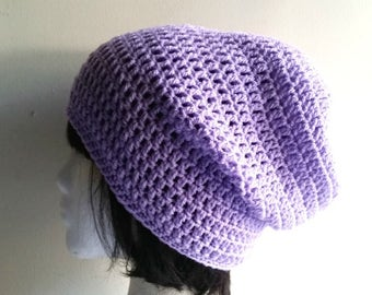 Lilac Slouch - Crochet Slouchy Beanie - Womens Slouchy Hat - Hipster Hat