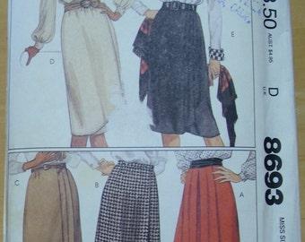 Free shipping! McCall's 8693 wrap skirt pattern size small UNCUT