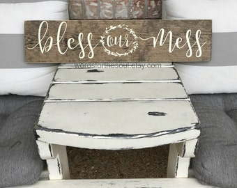 Bless our Mess - Bless this Mess - Rustic Wood Sign - Gallery Wall Decor - Christian Wall Art - Wall Hanging Decor - Home Decor - Rustic