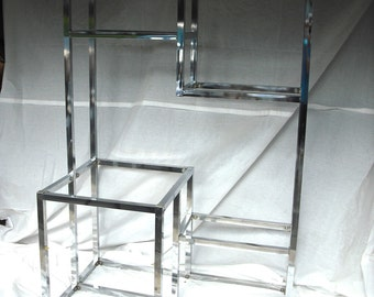 Chrome Etagere with built-in Bar Module Baughman  style
