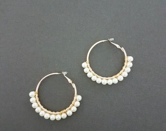 Anthropologie Inspired Pearl Beaded Wrapped Gold Hoop Earrings, Pierced, Ethnic Jewelry, Statement