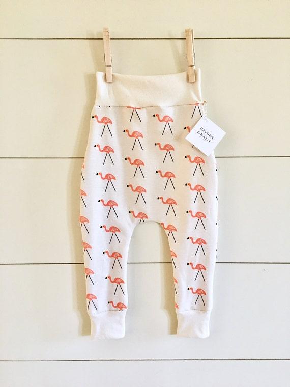 Handmade Hipster Baby Leggings | Baby Harem Pants | Baby Harems | Baby Boy Pants | Baby girl Pants | Organic Pink Flamingo Pants