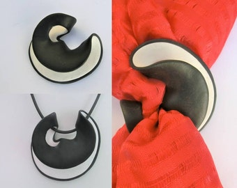White black scarf brooch or pendant/ 2 sides two colors wavy polymer clay/ 3 apertures/ many possibilities for scarf or cord