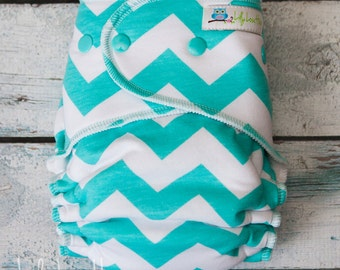 "Serged Hybrid Fitted Cloth Diaper- ""Aqua Chevron"""
