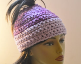 Purple adult winter hat , Messy bun hat , Ponytail teens hat , Winter beanie , Gift under 20 , Shades of purple hat