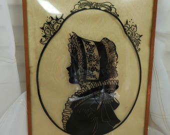 Vintage Silhouette Picture of Victorian Lady - Black Silhouette -  Oval Portrait - Convex glass