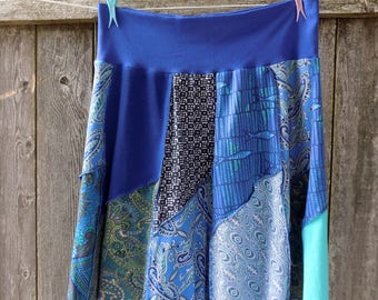 Knee Length Skirt - Women's Spring Summer Clothing - Recycled Tshirts Skirt - Turquoise Aqua Cobalt - Ladies Clothes - One of a Kind - OOAK