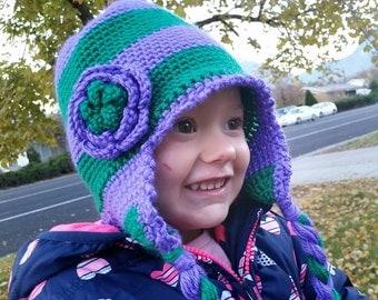 Crochet Earflap Hat Purple and Green with Braids & Flower