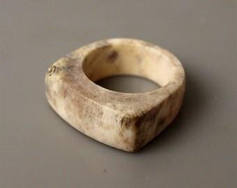 Antler ring, Size 10 US, Antler rings, Antler jewelry, Deer antler, Signet ring, Men ring, Antler men ring, Antler band ring, Elk antler